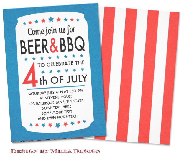 Beer and BBQ 4th of July Party invite with Stars design by Mhea Design