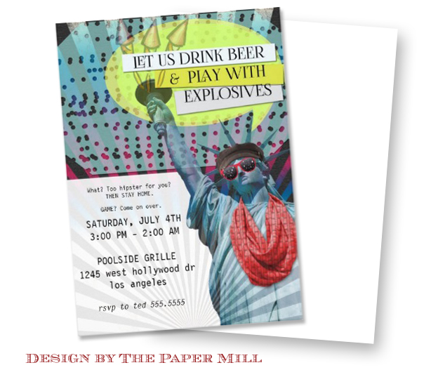 Hipster 4th of July Party Invitations design by The Paper Mill