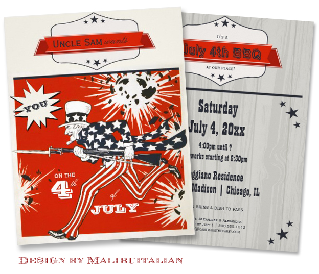 Trendy Hipster Independence Day Party Invite design by Malibuitalian