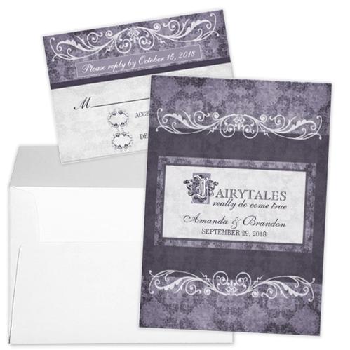 Purple Flourish Fairytale Wedding Invitation and RSVP