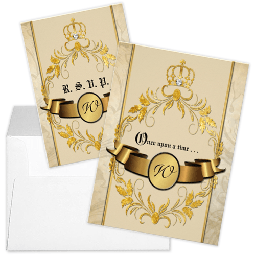 Glitter Gold Crown Monogram Fairytale Wedding Invitation and RSVP