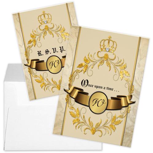 Glitter Gold Crown Monogram Fairytale Wedding Invitation and RSVP
