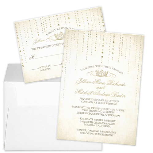 Gold Sparkle Royal Crown Fairytale Wedding Invitation and RSVP