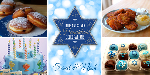 Blue and Silver Hanukkah Party Food and Noshes