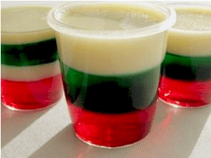 Red and Green Christmas Holiday Jello Shots