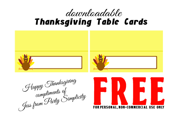 Free Downloadable Print At Home Thanksgiving Table Cards