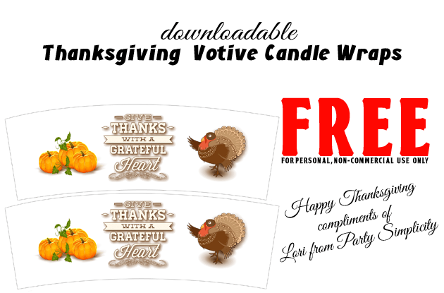 Free Downloadable Print At Home Thanksgiving Votive Candle Wraps