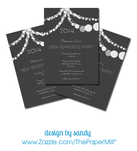 hanging lanterns black gray New Year's Eve party invitations