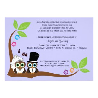Whimsical Bride and Groom Owls Bridal Shower Invitation