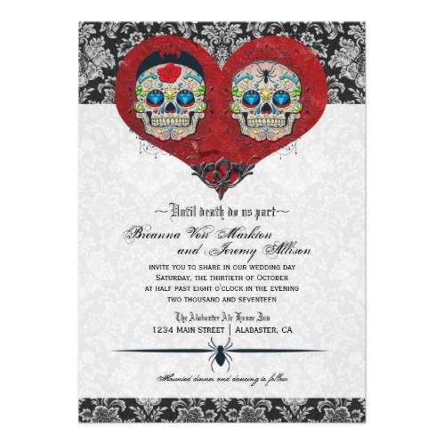 Halloween Sugar Skulls Day of the Dead Wedding Invitation