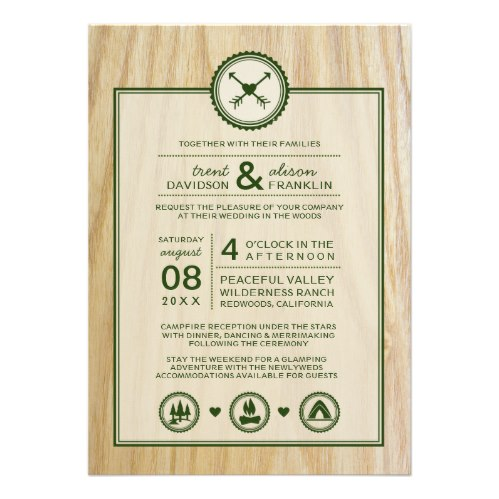 Woodsy Outdoors Glamping Camping Camp Wedding Invitation