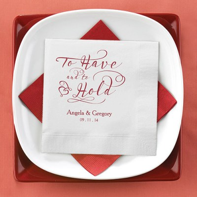 personalized wedding paper napkins - an example wedding reception table setting