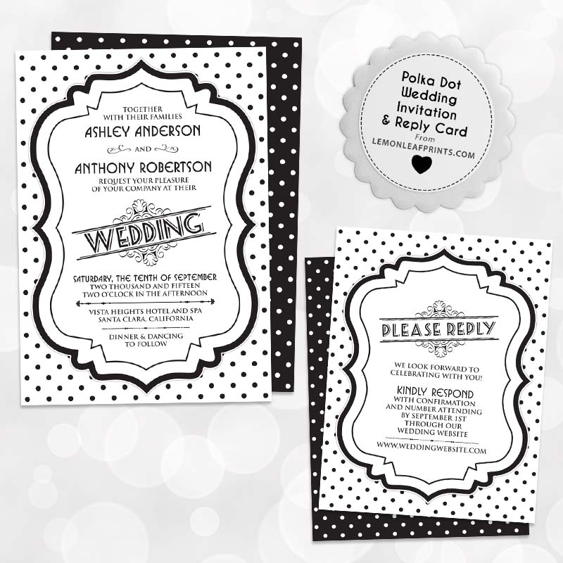 retro 50s black and white polka dots wedding invitation reply card