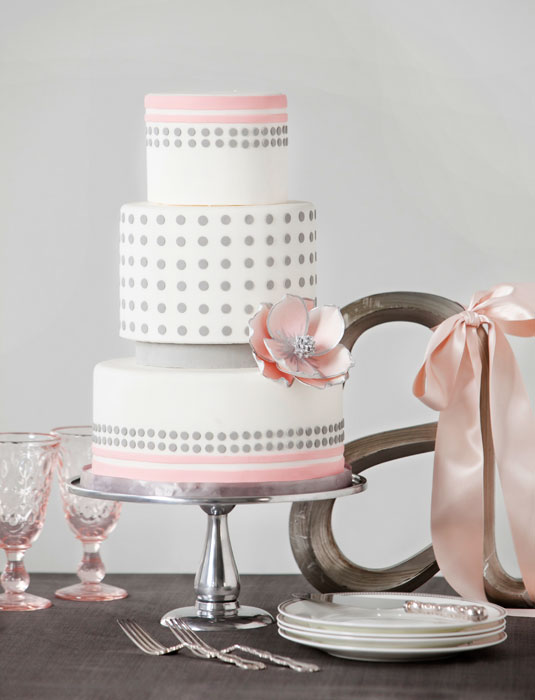 blush pink grey polka dot wedding cake