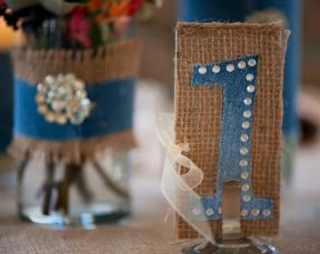 burlap and lace table numbers