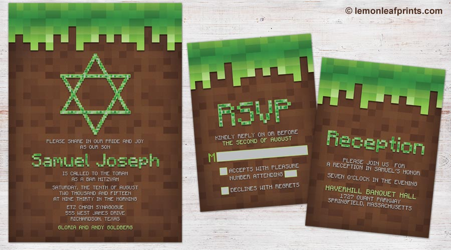 Brown Green Minecraft Bar Mitzvah Invitation Set