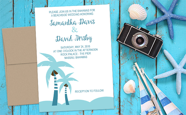 Blue Palm Tree Destination Wedding Beach Invitations