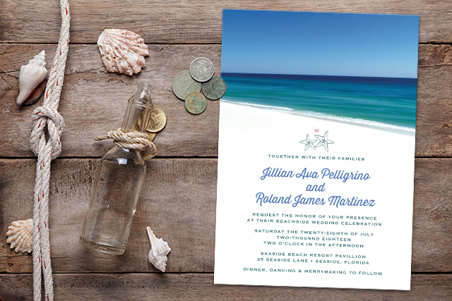 Destination Wedding Invitations - Beautiful Beach Scene