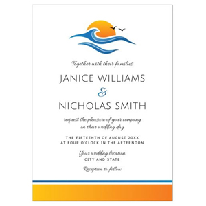 Elegant beach or tropical destination wedding invitation with sun water wave and birds