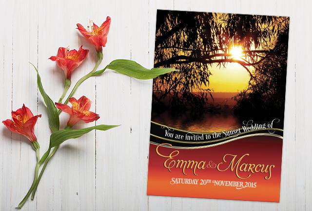 Nature's Silhouette Sunset Wedding Invitation
