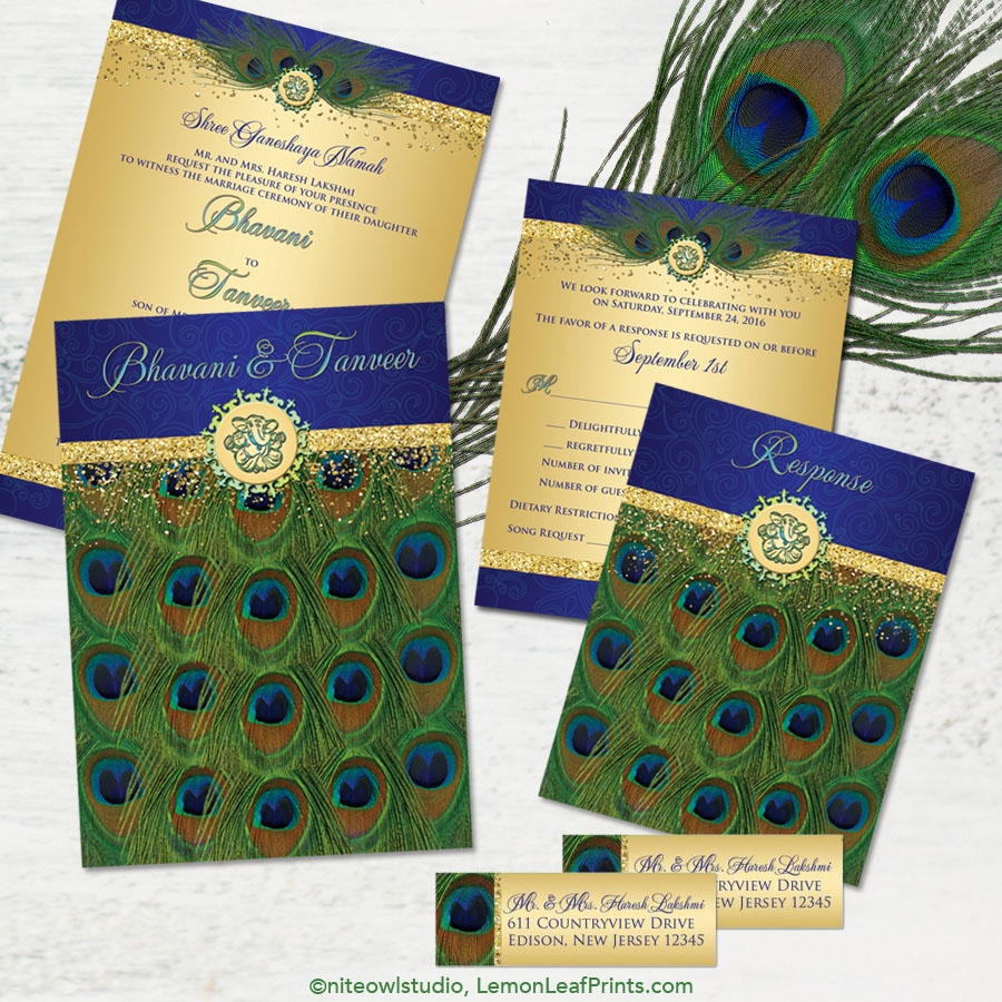 Elegant Indian Hindu Ganesh Peacock Feather Wedding Invitation Set