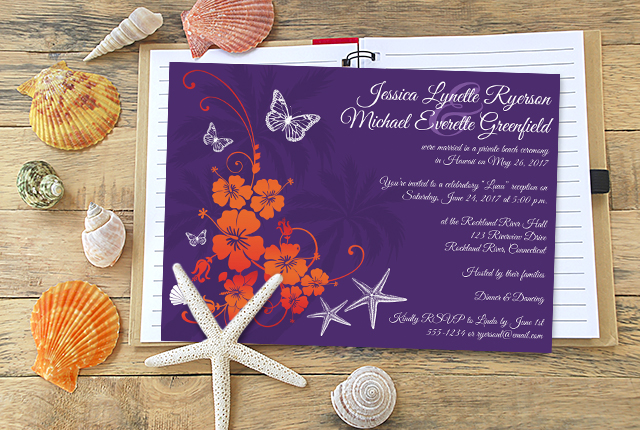 Post Wedding Reception Invitation - Purple Orange White Tropical Floral Butterflies Seashells