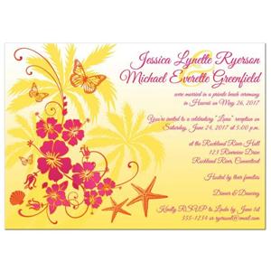 Post Wedding Reception Invitation Yellow Fuchsia Orange White Tropical Floral Butterflies Sea Shells