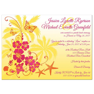 Post Wedding Reception Invitation Yellow Fuchsia Orange White Tropical Floral Butterflies Sea Shells