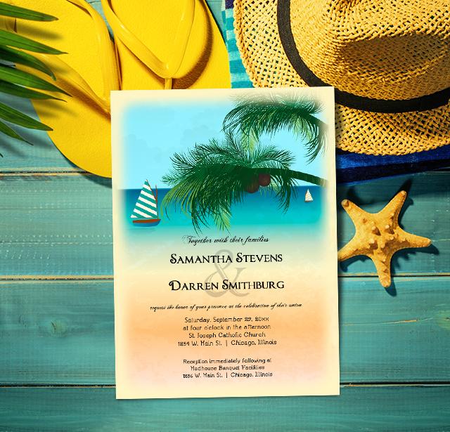 Retro Inspired Postcard Beach Scene Wedding Invitation