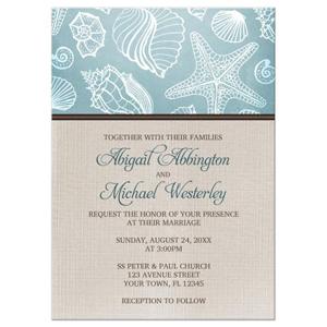 Rustic Seashells and Linen Beach Wedding Invitations