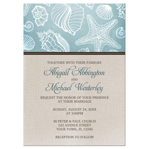 Rustic Seashells and Linen Beach Wedding Invitations