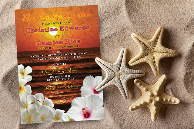 Sunset Beach Destination Wedding Invitations