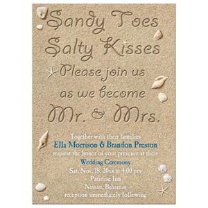 Wedding Invitation - Beach Sandy Toes Salty Kisses