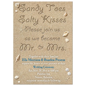 Wedding Invitation - Beach Sandy Toes Salty Kisses
