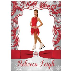 Red Snowflake Winter Skating Photo Bat Mitzvah Invitation