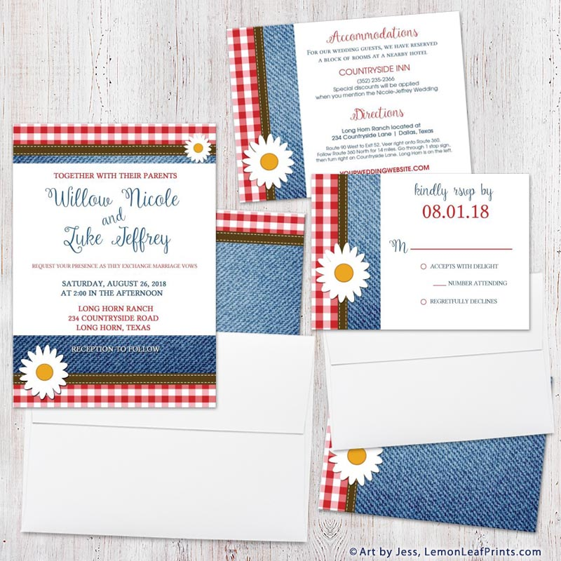 Country casual gingham and denim daisy wedding invitation set
