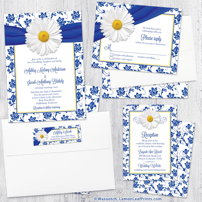 white daisy royal blue damask floral wedding invitation set