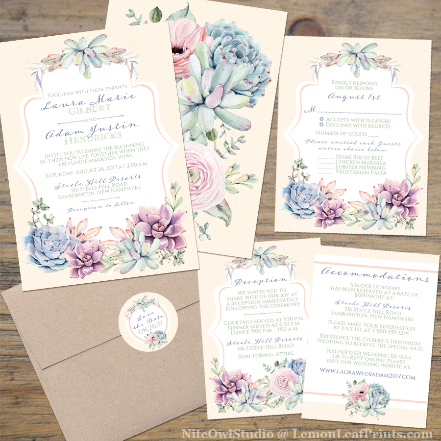 Pastel Succulents Wedding Invitation Set