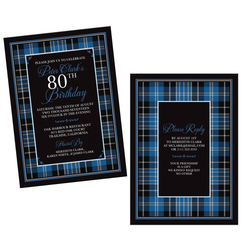 Scottish Clan Clark Tartan 80th Birthday Invitation