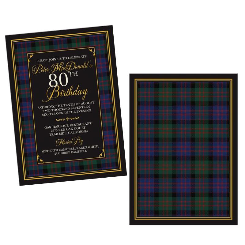 Scottish Clan MacDonald Tartan 80th Birthday Invitation