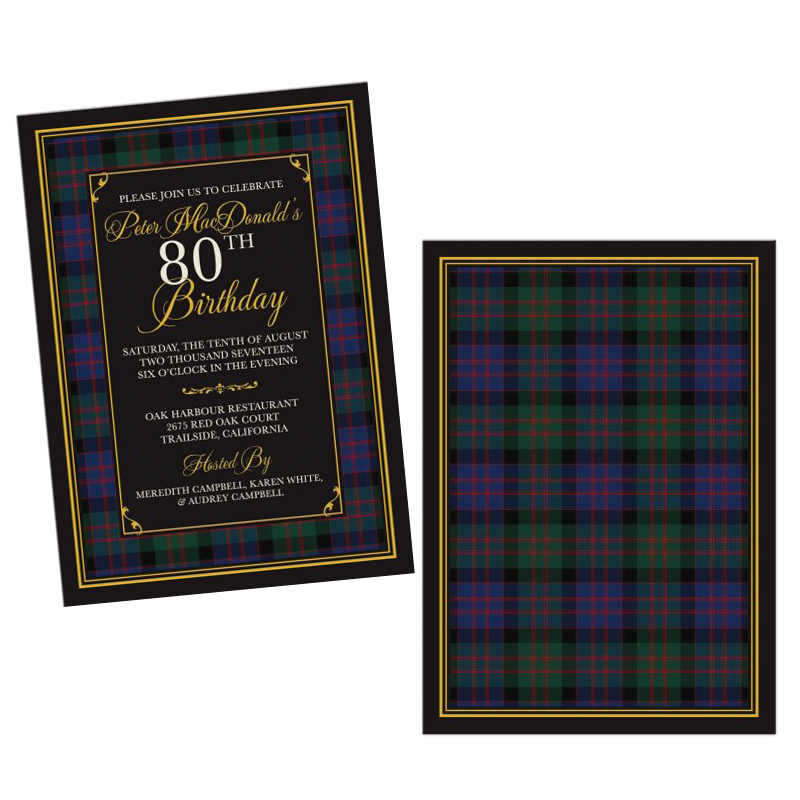 Scottish Clan MacDonald Tartan 80th Birthday Invitation