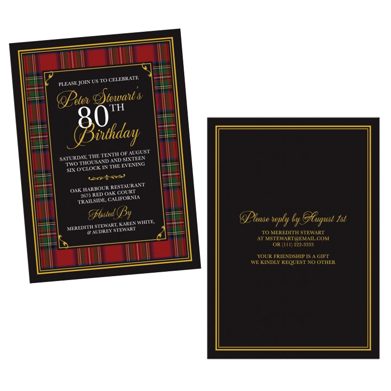 Royal Stewart Tartan 80th Birthday Invitation