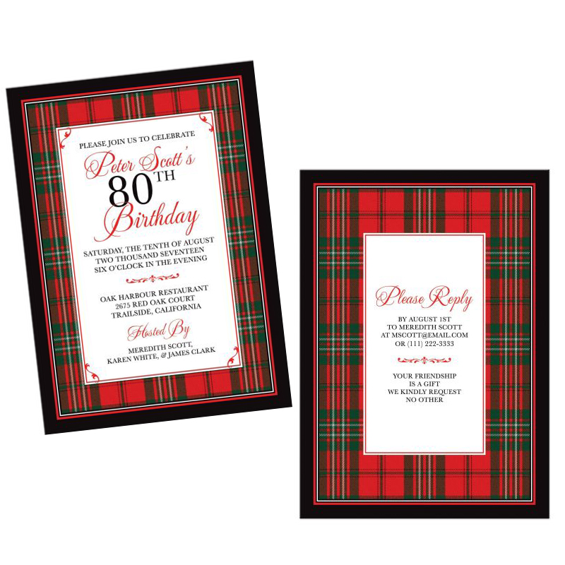 Scottish Clan Scott Tartan Birthday Invitation