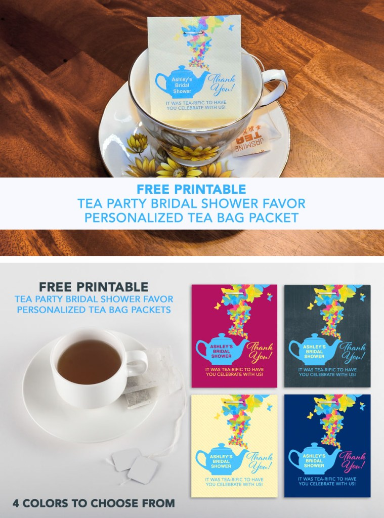 Free Printable Tea Party Bridal Shower Bag Packet Favors