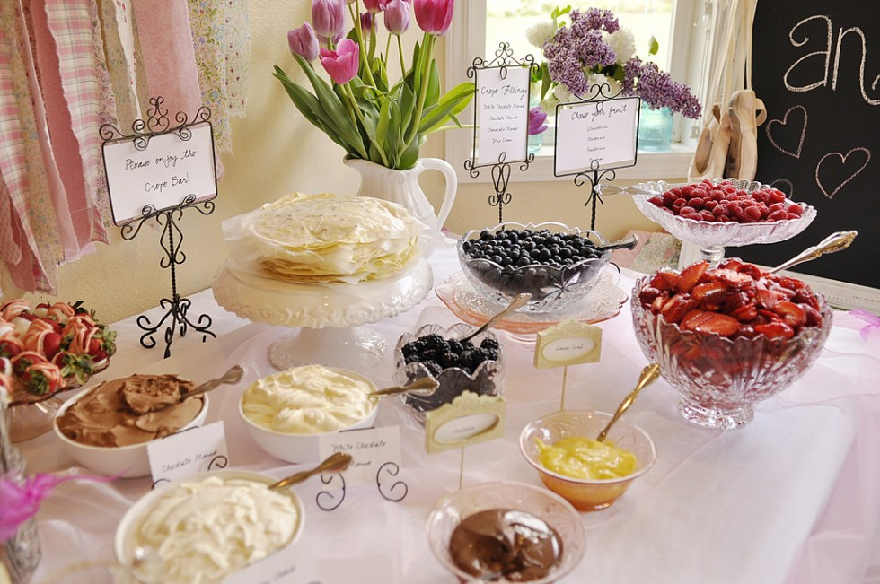 French dessert crepe bar for a Paris bridal shower