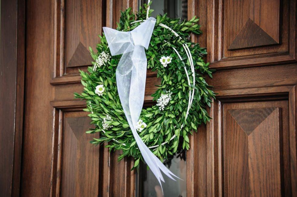 Leafy Green Wreath with White flowers