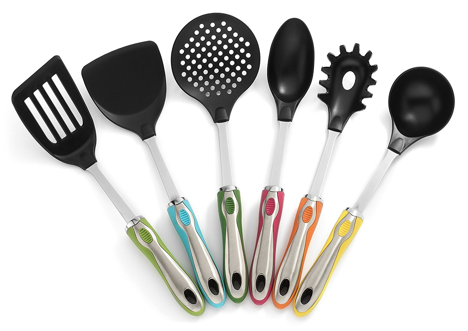 Kitchen Utensils With Holder 7 Pc Cute Utensil Set – Colorful
