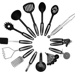Kitchen Cooking Utensils Rustic Wood Island Kworks 22 Piece Set  Stainless Steel