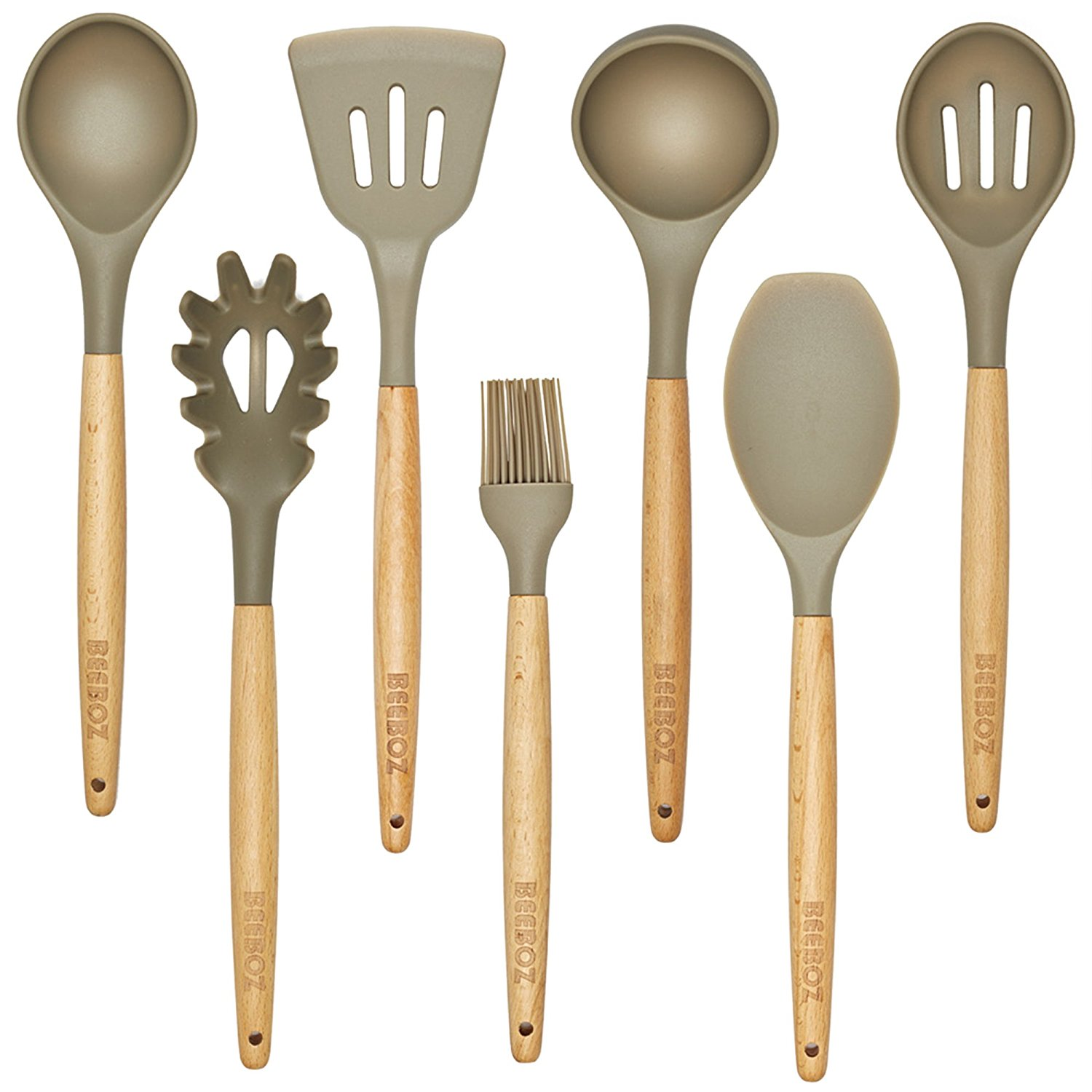 kitchen utensil set washable rugs for 7 pc beech wood and silicone grey