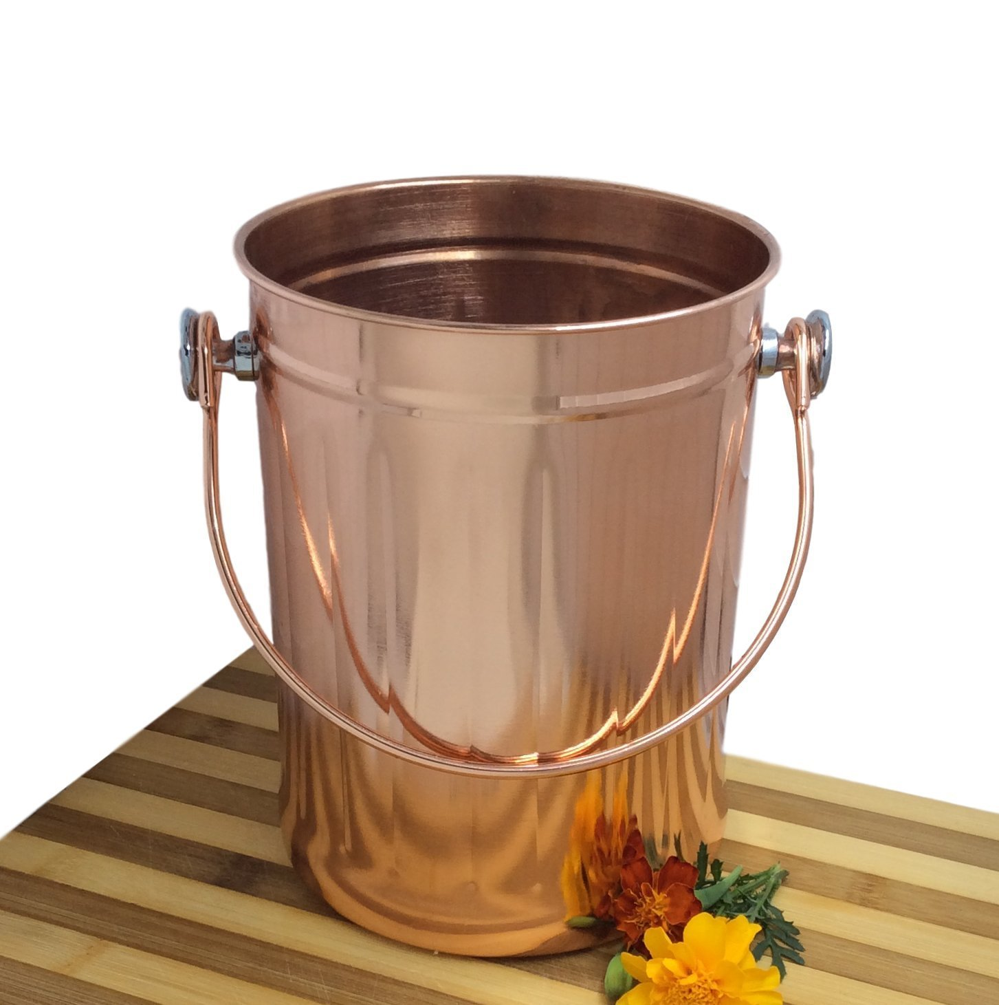 copper kitchen utensil holder white island with granite top caddy crock to organize tools